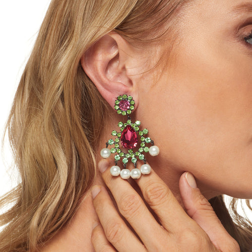 Peridot and Pink Stone Pierced Earring