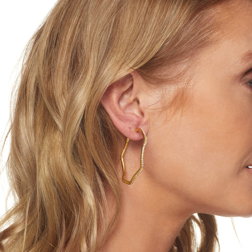Large Satin Rhodium/ Crystal Wavy Hoop Clip Earring