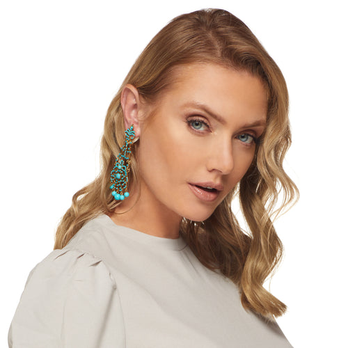Turquoise Drop Fancy Clip Earring
