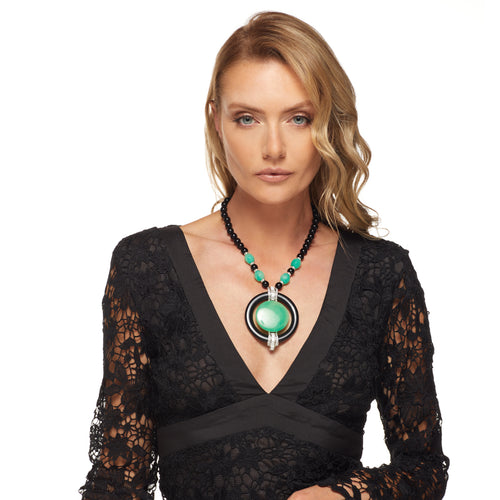Black & Jade Pendant Necklace