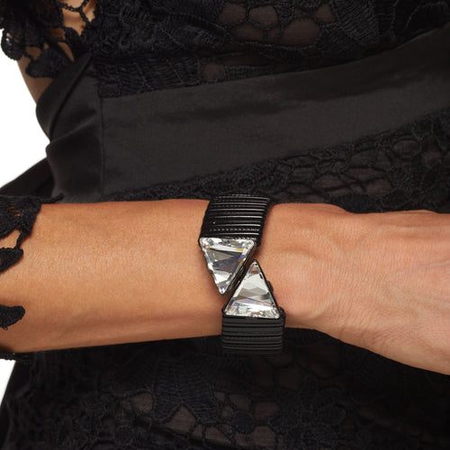 Black Stretch Crystal Triangle Ends Wrap Bracelet