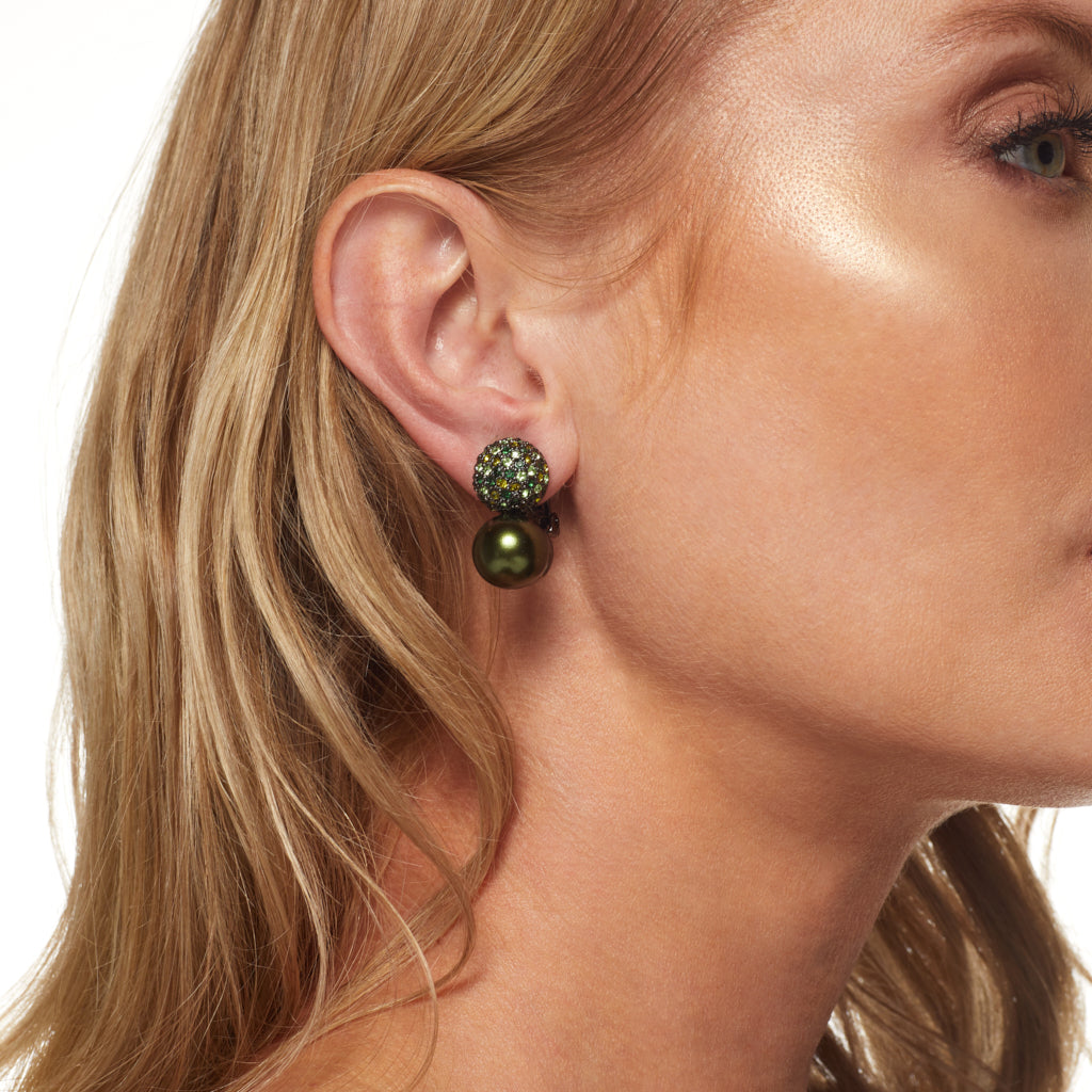 Gunmetal/ Multi Green Pave' Top w/ Green Pearl Clip Earrings