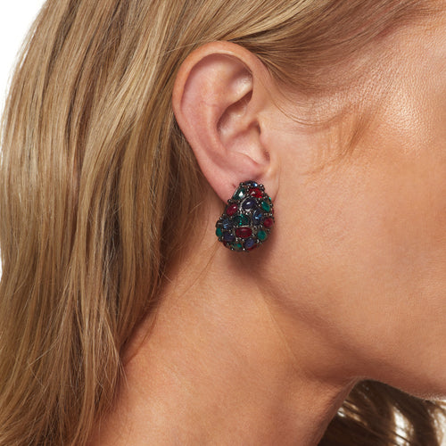 Gunmetal Ruby/ Emerald Cluster Earring