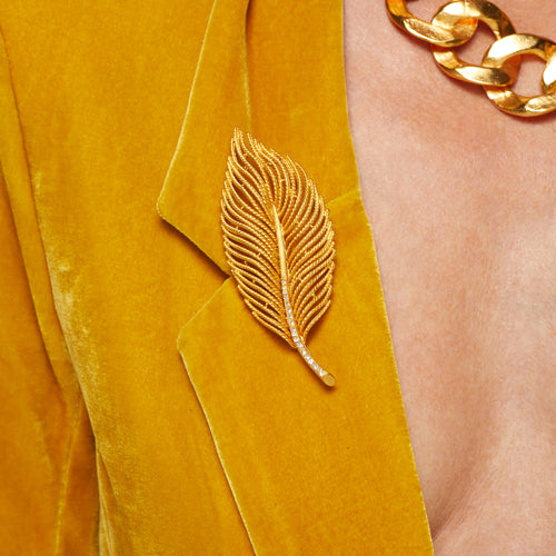 Satin Gold w/ Crystals Leaf Pin
