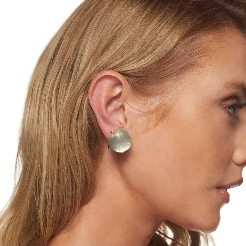 Silver Setting Clear Bubble Center Clip Earring