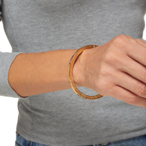 Polished Gold Textured Bangle Bracelet