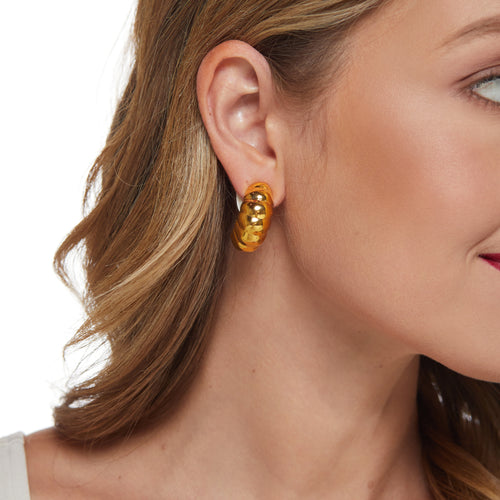 Polished Gold Half Hoop Earring