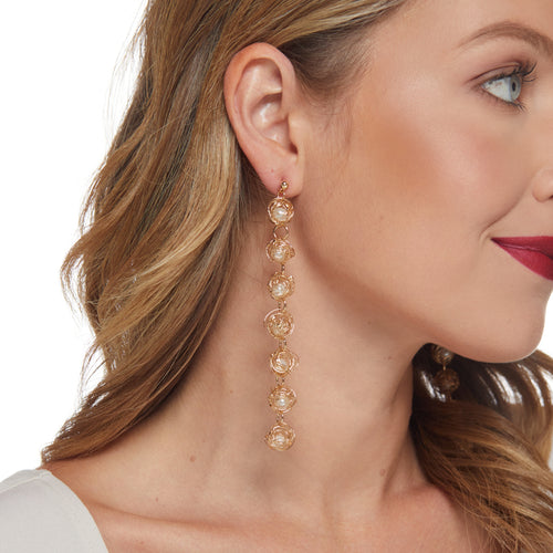 Gold & White Pearl Drop Earring
