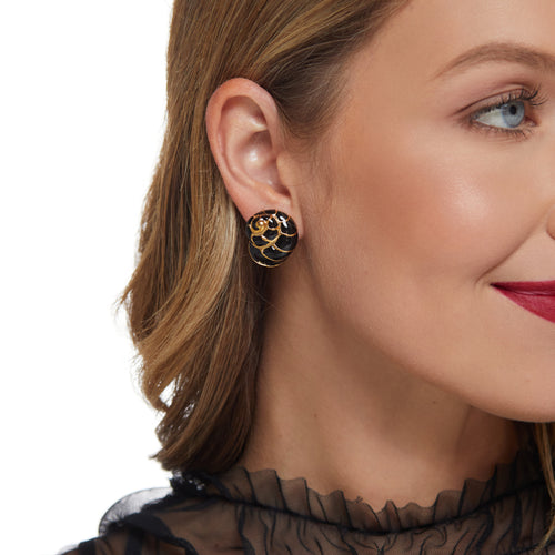 Gold/Black Shell Clip Earring