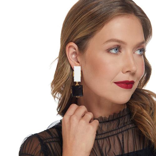 Square and Rectangle Drop Clip Earring