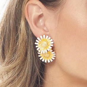 Yellow Daisy Cluster Clip Earring