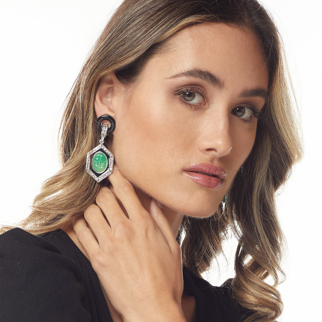 Jade Deco Drop Clip Earring