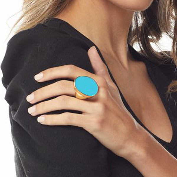 Turquoise Kidney Shaped Ring