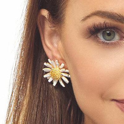 White Daisy Post Earring