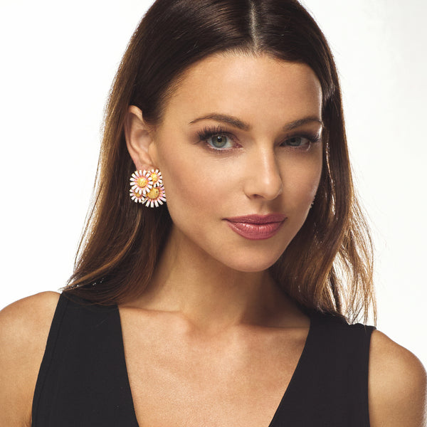 Pink Daisy Cluster Clip Earring