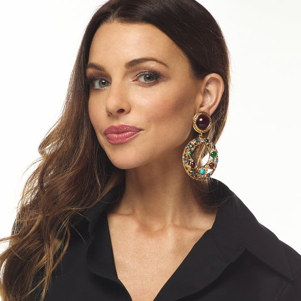 Ruby & Crystal Drop Clip Earring
