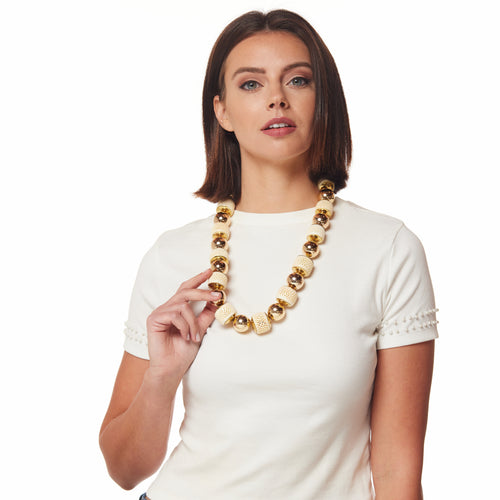 Gold Balls With Round Ivory Necklace