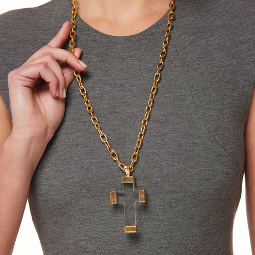 Clear Cross Pendant Necklace