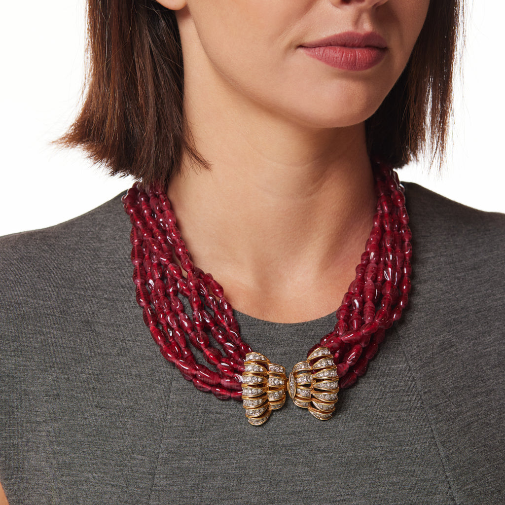 8 Row Ruby Beaded Necklace