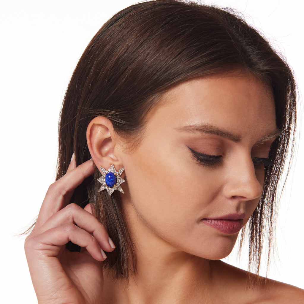 Oval Lapis Star Clip Earring