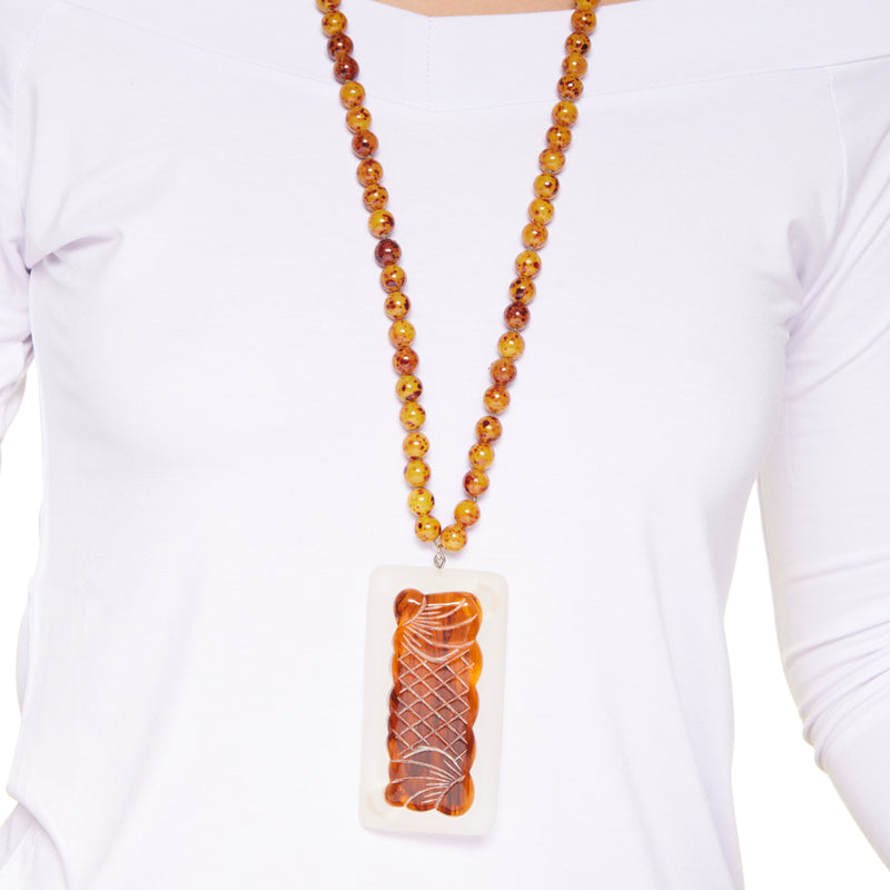 Amber Bead Pendant S Hook Necklace