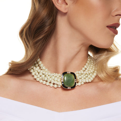 Eight Row White Pearl with Jade Center Clasp Necklace