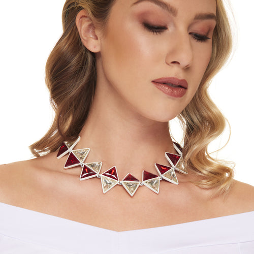 White with Ruby Crystal Triangle Clasp Necklace