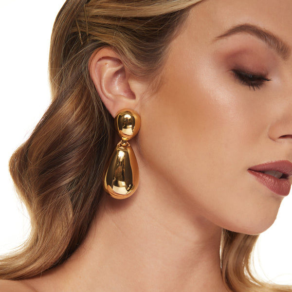 Polished Gold Drop Clip Earrings
