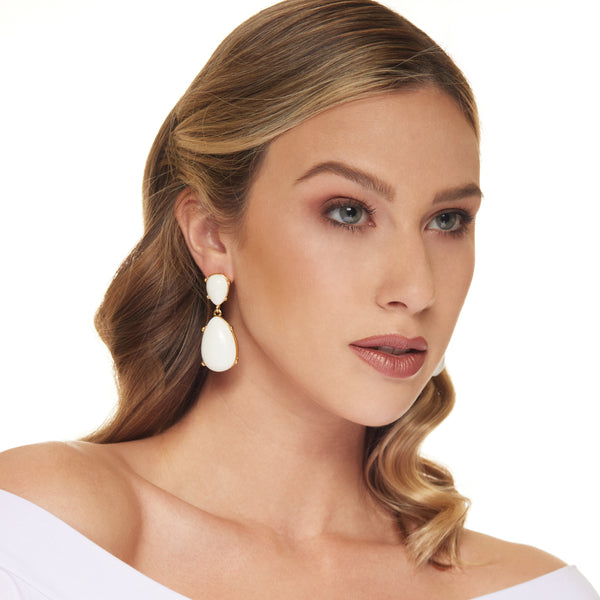 White Teardrop Cabochon Pierced Earring