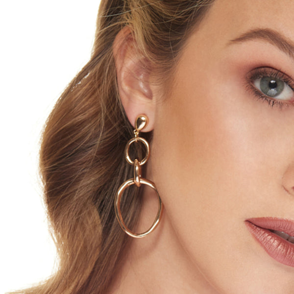 Polished Gold Triple Hoop Pierced Earring
