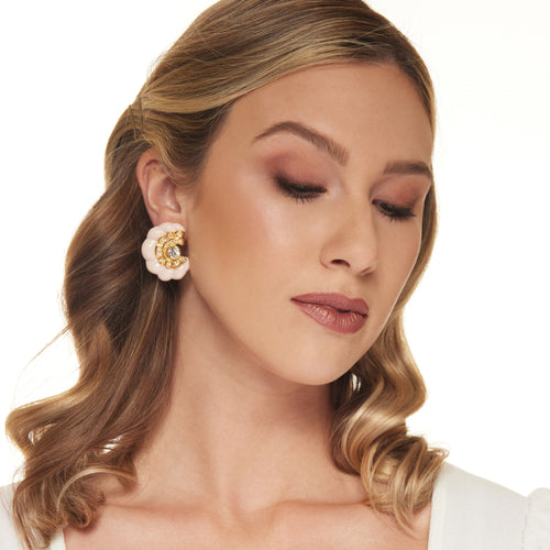 Gold with Crystal and Angelskin Spiral Rib Clip Earring