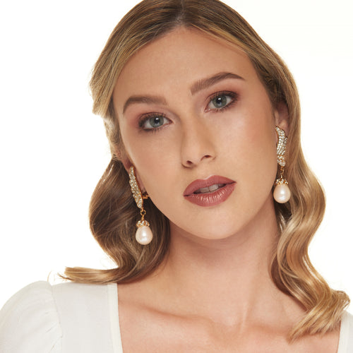 Gold with Crystal Wings and Pearl Drop Clip Earring