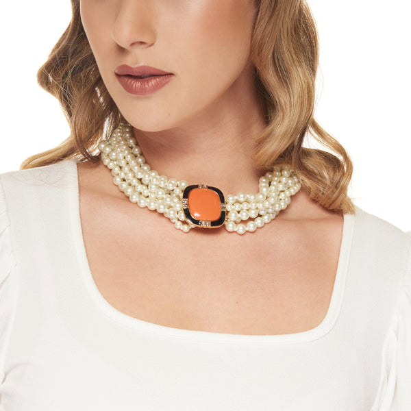 Eight Row White Pearl with Coral Center Clasp Necklace