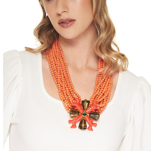 12 Row Gold with Coral Beads and Emerald Branch Clasp Necklace