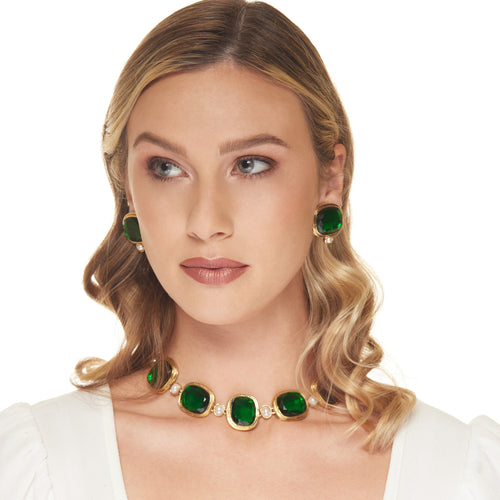 Gold with Emerald Top Pearl Drop Clip Earring