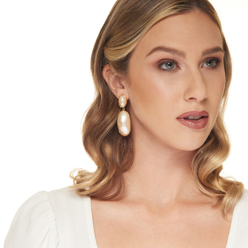Gold with Oval Pearl Clip Earring