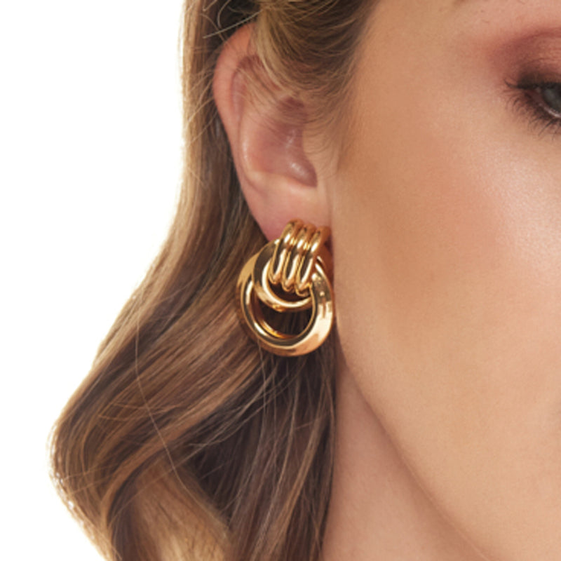Polished Gold Love Knot Pierced Earring