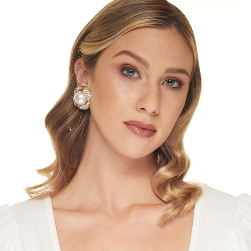 Gold with Crystal and Pearl Center Clip Earring