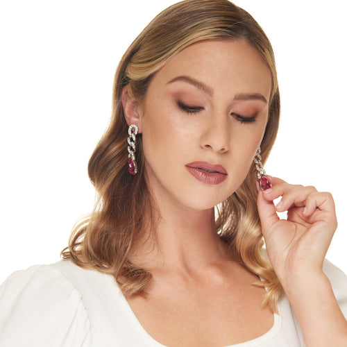 Silver Crystal Pave Chain with Pink Teardrop Clip Earring