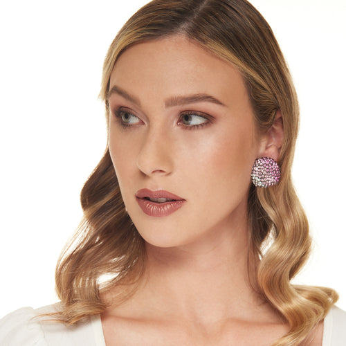 Gunmetal, Multipink, and Crystal Pebble Clip Earring