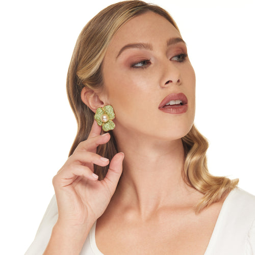 Gold with Peridot and Pearl Center Clip Earring