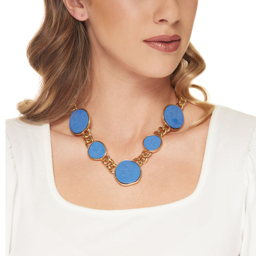 Gold with Large to Small Blue Center Chain Necklace