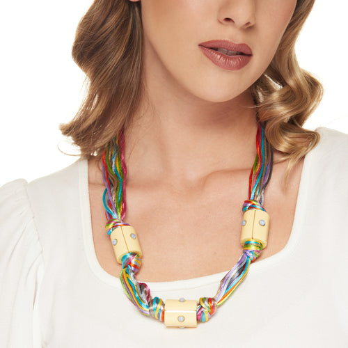 Gold with Multi-Color Silk Thread and Three Ivory Barrel Station Necklace