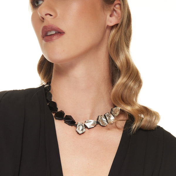 Gunmetal and Jet Crystal Odd Shape Clasp Necklace