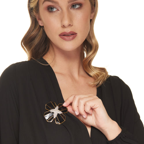 Black and Crystal Maltese Cross Pin