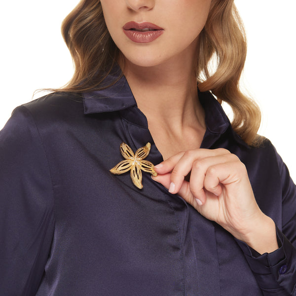 Satin Gold Starfish Pin