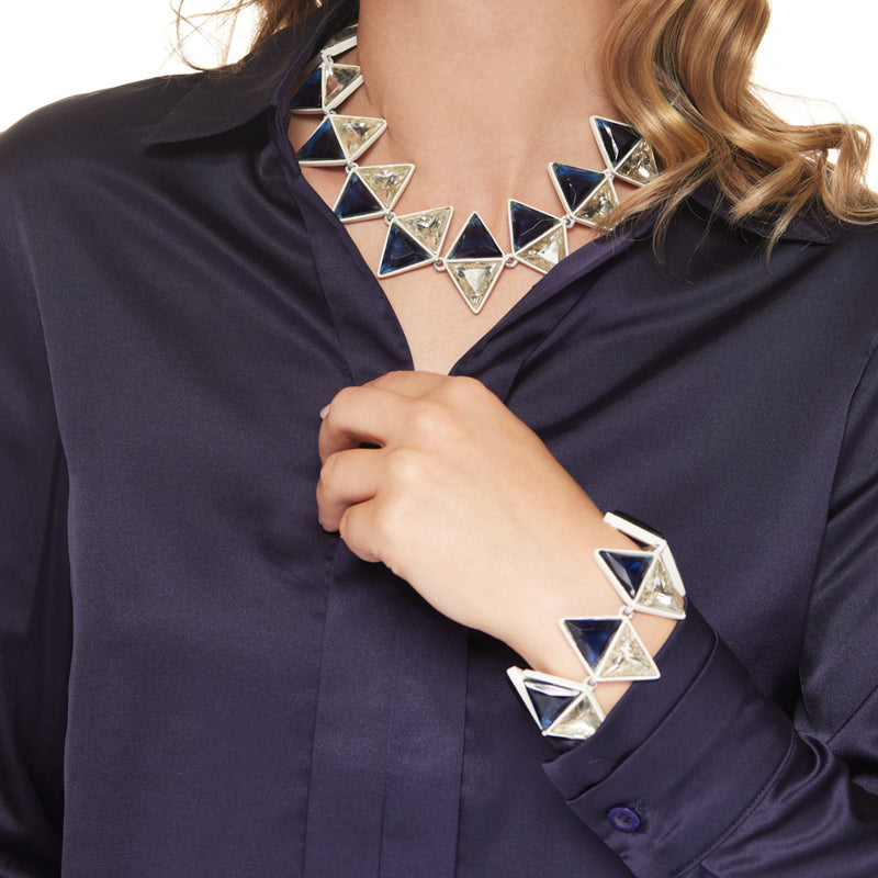 White with Sapphire Crystal Triangle Clasp Necklace