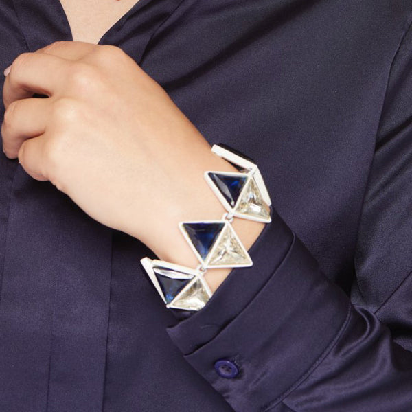 White with Sapphire Crystal Triangle Clasp Bracelet