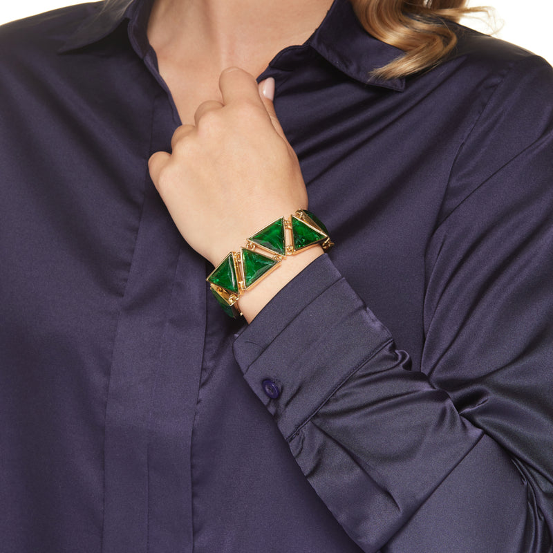 Gold with Emerald Triangle Fold Over Clasp Bracelet