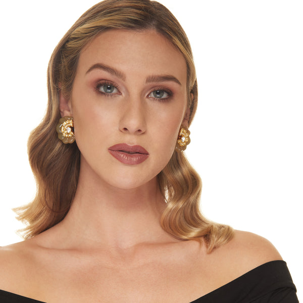 Gold with Crystal and Jade Spiral Rib Clip Earring